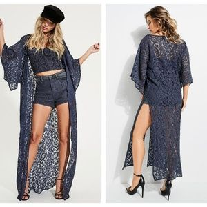 Guess Sun-Bleach Blue Lace Kaftan Maxi Coverup